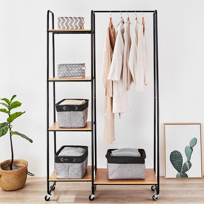 mental garment rack with wood shelves 615